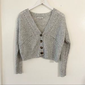 American Eagle Grey Chunky Knit Slouchy Sweater
